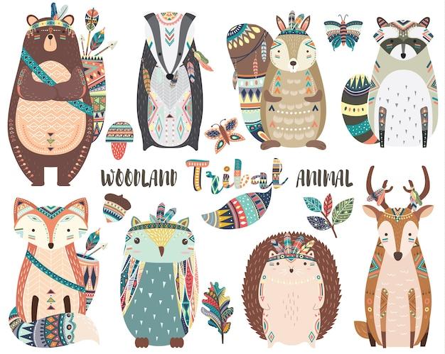 Elementos de animais tribais fofos da floresta