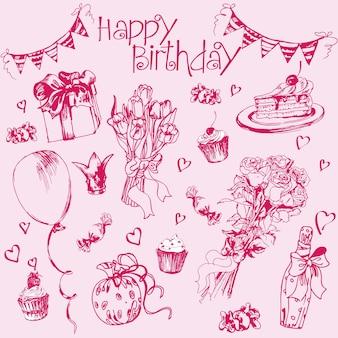Elementos de aniversário conjunto desenhado à mão com presente de balões de bolo de aniversário e atributos festivos.