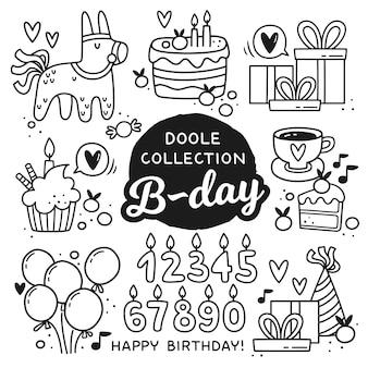 Elementos de aniversário de estilo doodle.