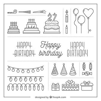 Elementos de aniversário minimalistas em design plano