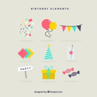 Elementos de aniversário planas bonitos para decoração