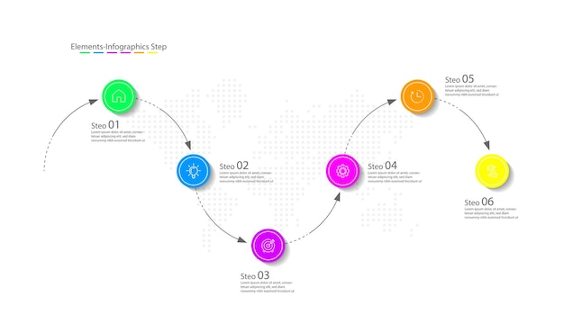 Elementos de apresentação círculo de modelo de infográfico de negócios colorido com seis etapas