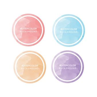 Elementos de aquarela de coleção de círculo
