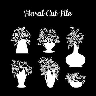 Elementos de arquivo de corte floral bonito