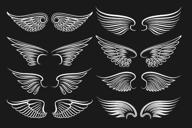 Elementos de asas pretas. anjos e asas de pássaros. ilustração de asas brancas