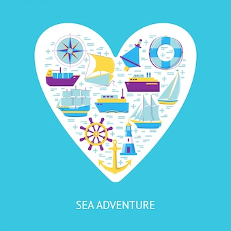 Elementos de aventura do mar no coração