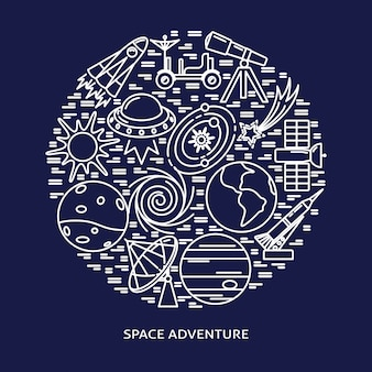 Elementos de aventura espacial rodada composição em estilo de linha