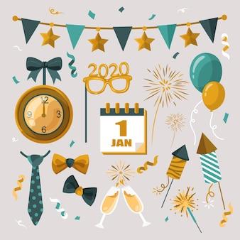 Elementos de balões e fogos de artifício para festa de ano novo