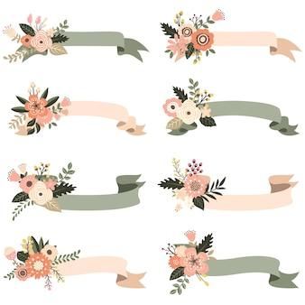 Elementos de banners florais rústicos