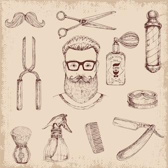 Elementos de barbeiro desenhados à mão