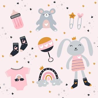 Elementos de bebê menina com brinquedos fofos e roupas