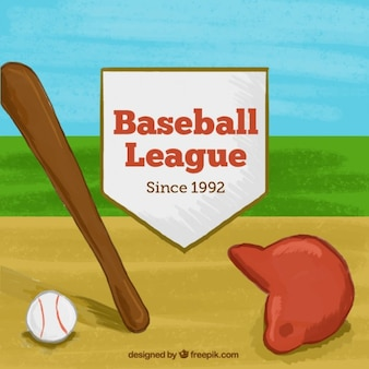 Elementos de beisebol fundo