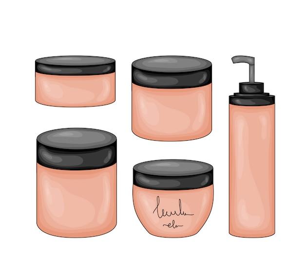 Elementos de beleza com frascos de cosméticos.