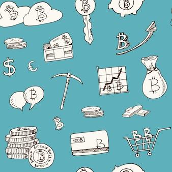 Elementos de bitcoin desenhados à mão padrão sem emenda de doodle