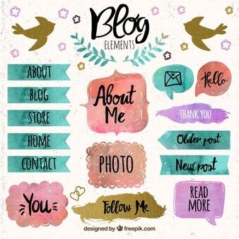 Elementos de blog com manchas de tinta