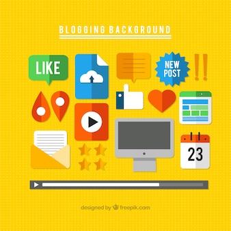 Elementos de blog, estilo plana