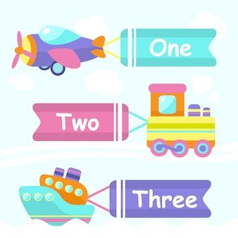 Elementos de brinquedo de transporte