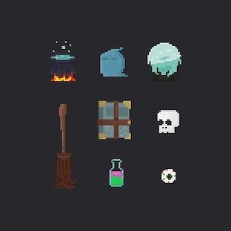 Elementos de bruxa de pixel.halloween