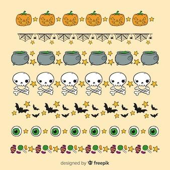 Elementos de bruxaria para coleção de fronteira de halloween
