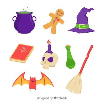 Elementos de bruxaria plana coleção de halloween