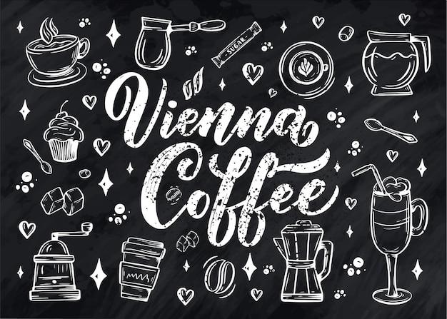 Elementos de café com letras à mão em estilo de desenho