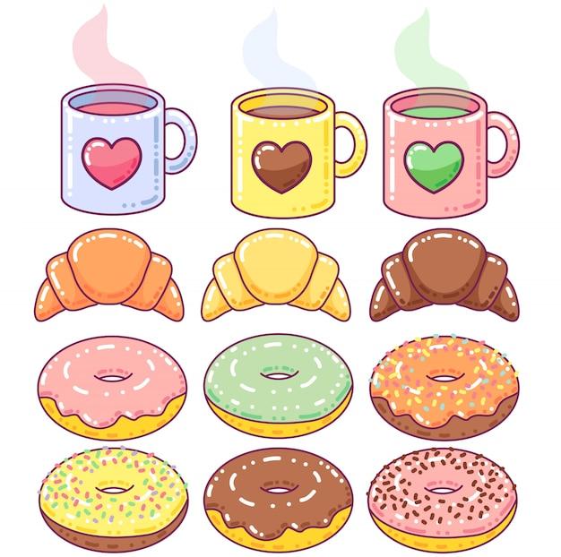 Elementos de café da manhã fofos