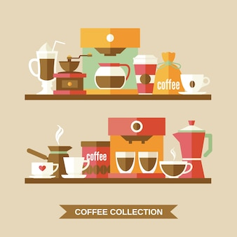 Elementos de café em prateleiras