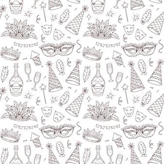 Elementos de carnaval e símbolos de símbolos, padrão sem emenda no estilo doodle, elementos de decoração