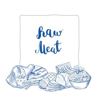 Elementos de carne monocromático de mão desenhada reunidos sob o quadro com lugar para texto