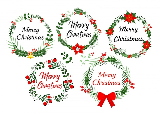 Elementos de cartão de ano novo. guirlanda de natal com inverno floral. ilustração em estilo simples.