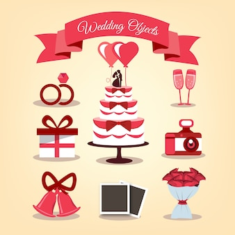 Elementos de casamento com detalhes vermelhos