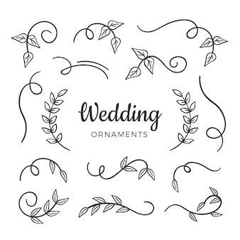 Elementos de casamento desenhados à mão