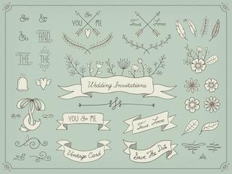 Elementos de casamento desenhados mão