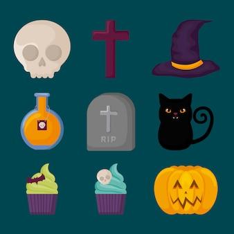 Elementos de celebração do dia das bruxas