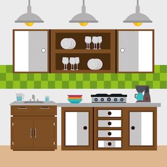 Elementos de cena moderna de cozinha
