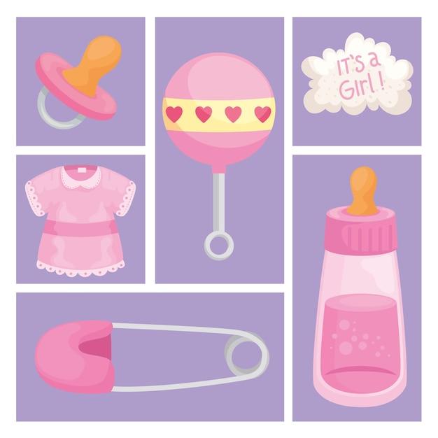 Elementos de chá de bebê para meninas