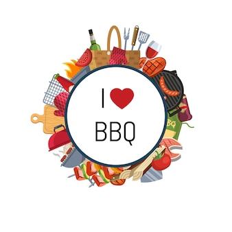Elementos de churrasco ou grill em torno do círculo com lugar para texto