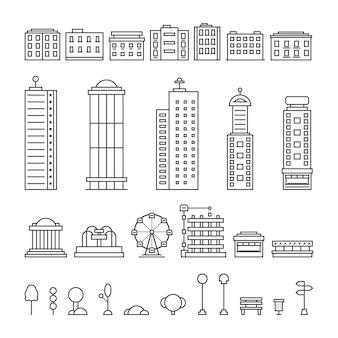 Elementos de cidade de linha fina preta