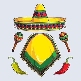 Elementos de cinco de mayo desenhados à mão sombrero poncho maracas e pimenta