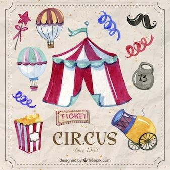 Elementos de circo engraçado pintados à mão