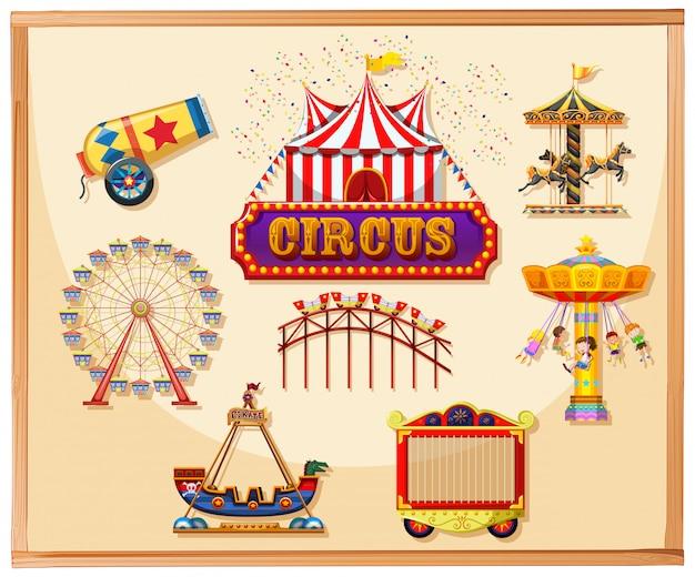 Elementos de circo para cartaz, incluindo canon, gaiola, jogos e passeios