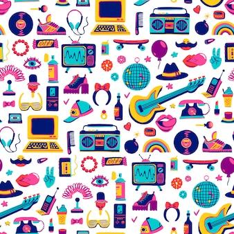 Elementos de coleção retrô ícones no estilo moderno dos desenhos animados desenhados à mão de mercadorias dos anos 80-90. padrão sem emenda
