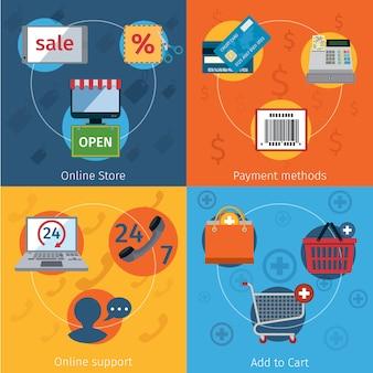 Elementos de comércio eletrônico conjunto planas
