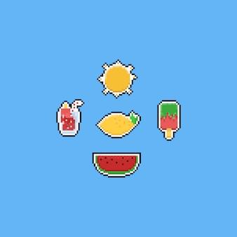 Elementos de comida de verão pixel. 8 bits