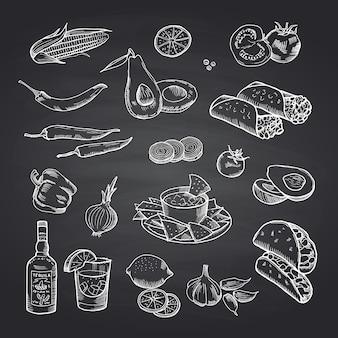 Elementos de comida mexicana esboçada definida no quadro preto