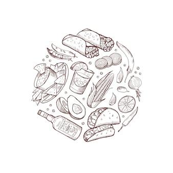 Elementos de comida mexicana esboçada em forma de círculo isolado