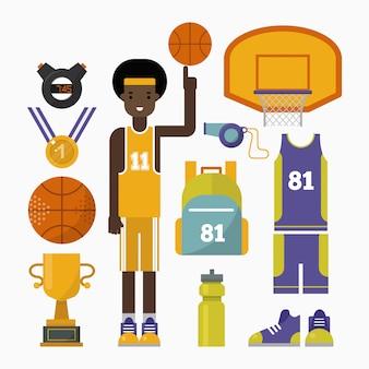 Elementos de competição de jogo de basquete e jogador