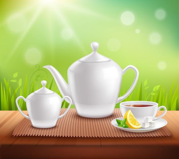 Elementos de composição de serviço de chá