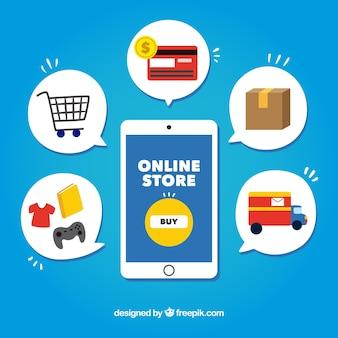 Elementos de compras coloridos e smartphone