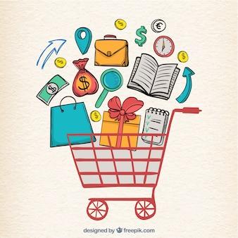 Elementos de compras desenhados à mão e carrinho